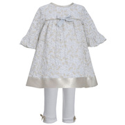 Sweet vintage look sparkle lace dress with gold lame hem band and bow at bodice, 3/4 bell sleeves and cream knit leggings with bows.  Fully Lined. Great for holiday pictures! Available in sizes 0/3, 3/6 and 6/9 months (see matching dresses in Infant and Toddler) by Bonnie Jean