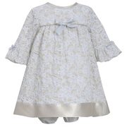 Sweet vintage look sparkle lace dress with gold lame hem band and bow at bodice, 3/4 bell sleeves, includes panty.  Fully Lined. Great for holidays! Available in sizes 12, 18 and 24 months (see matching dresses in Baby and Toddler) by Bonnie Jean