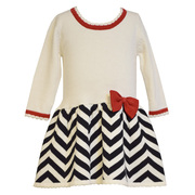 Cute ivory drop waist sweater dress with chevron intarsia skirt and red bow trim. Available in sizes 12, 18 and 24 months.  See also in Toddler by Bonnie Jean