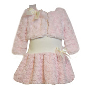 Adorable pink and ivory long sleeve knit drop waist dress with faux cuddle fur skirt and long sleeve matching faux fur shrug/jacket. So soft! Available in sizes 12, 18 and 24 Months. See also in Toddler by Bonnie Jean