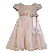 Beautiful blush pink foil embroidered organza bodice and cap sleeve empire to tulle overlay skirt with wire hem, ribbon sash and bow. Zips in back. Great vintage color! Available in sizes 2T, 3T and 4T (see also in 4-6X) by Bonnie Jean
