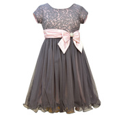 Beautiful short sleeve sequin lace bodice to wire hemmed tulle skirt, poly sash and side bow with rhinestone button. Sweet!  Available in sizes 7, 8, 10, 12, 14 and 16 by Bonnie Jean