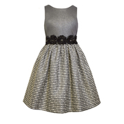 Dazzling sleeveless holiday dress with a foil sparkle knit bodice and metallic woven tweed skirt with ribbon bonaz and faceted stone trims. Available in sizes 7, 8, 10, 12, 14 and 16 by Bonnie Jean