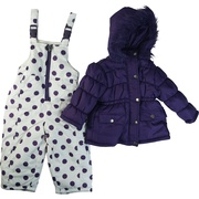 These toddler girl adorable snowsuits have a solid color jacket with warm fleece lining and patterned snow pants with elastic inside hem to prevent snow entering.  XOXO zipper pulls. Available in Pink (leopard print snow pants) and Purple (polka dots) in sizes 2T, 3T and 4T.  Very cute!