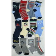 Cute 12 Pack of Baby Boy Crew Socks in Various Colors and Patterns.  Available in Sizes 3/6 (Small), 6/9 (Medium) and 9/12 Months (L), 12+ months (Large)  *Note Detail Pic is of Size Medium