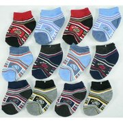 Cute 12 Pack of Newborn Boy Socks in Various Colors and Patterns.  Available in Size 0/3 Months