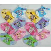 Cute 12 Pack Baby Girl Socks in Various Colors with Flip Flop Pattern.  2 Pair of each color. Available in Sizes 3/6 (Medium) and 6/9 (Large) Months
